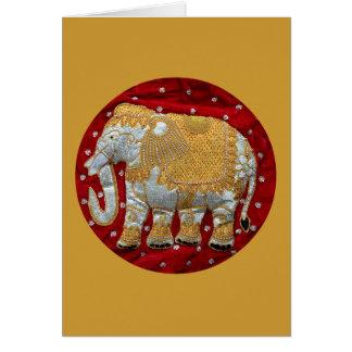 Cartão Vermelho Embellished e ouro do elefante indiano