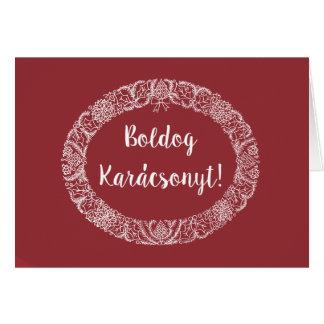 Cartão Vermelho escuro branco da grinalda húngara do