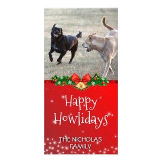 Cartão Vermelho feliz da foto do Natal do cão de