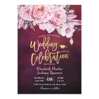 Cartão Vermelho floral de Borgonha das penas de Boho do