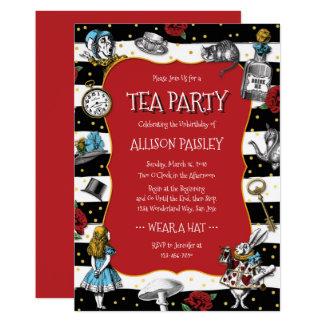 Cartão Vermelho lunático do tea party do país das