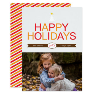 Cartão Vermelho moderno do feriado, ouro & foto do Natal