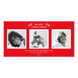 Cartão Vermelho moderno simples + Foto branca do Feliz