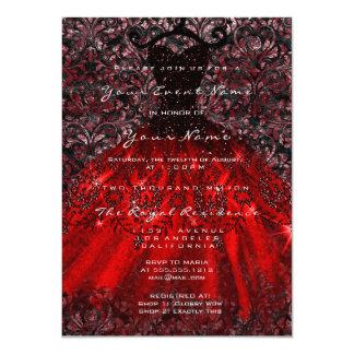 Cartão Vermelho nupcial gótico Blac do damasco de veludo