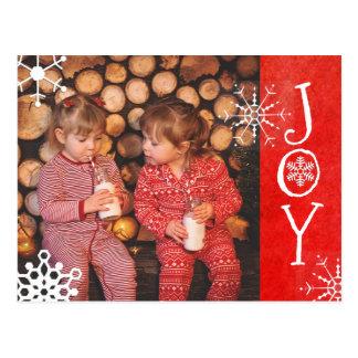 Cartão vermelho personalizado da alegria do Natal