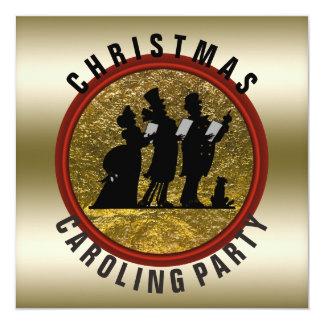 Cartão Vermelho preto do ouro de Caroling do Natal