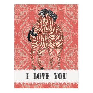 Cartão vermelho retro do amor de Zenya Cartões Postais