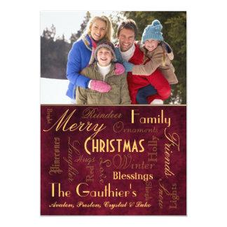 Cartão vermelho retro do feriado das bênçãos do convite 12.7 x 17.78cm