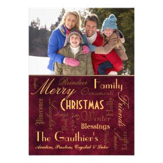 Cartão vermelho retro do feriado das bênçãos do Na Convite Personalizados