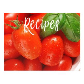 Cartão vermelho suculento da receita do tomate