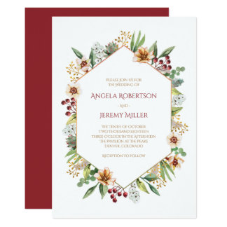 Cartão Vermelho Wedding da aguarela do Wildflower do