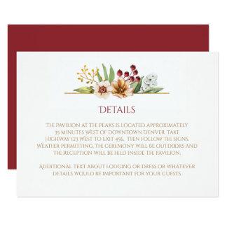 Cartão Vermelho Wedding da aguarela dos Wildflowers do