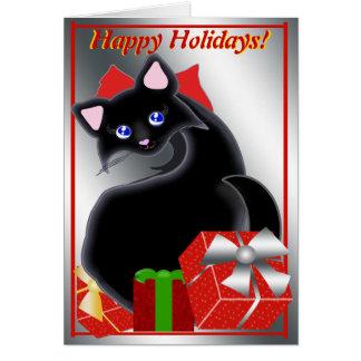 Cartão Vermelhos do feriado do gatinho de Kiara Toon