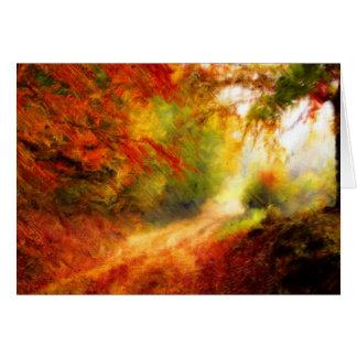 Cartão Vermelhos & ouro do caminho da floresta do outono