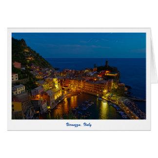 Cartão - Vernazza, Italia no crepúsculo
