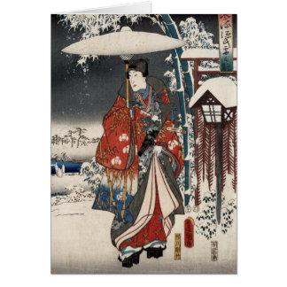 Cartão Versão moderna do conto de Genji na cena da neve