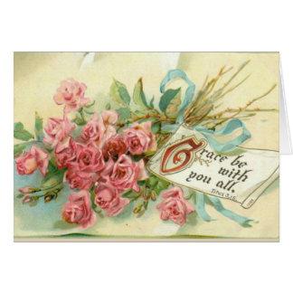 Cartão Verso cor-de-rosa da escritura das flores dos