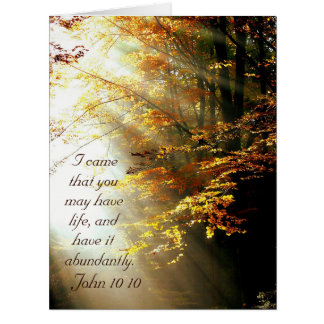 Cartão Verso inspirado John 10 da bíblia 10 árvores da