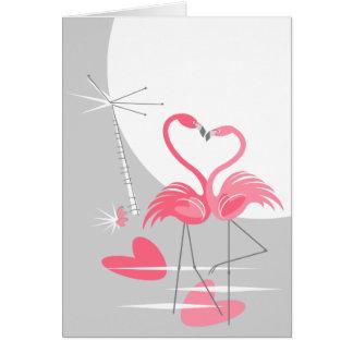 Cartão Vertical da lua do amor do flamingo grande