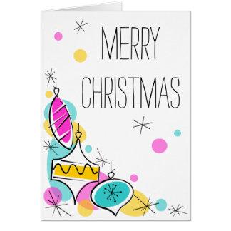 Cartão Vertical de canto do Natal dos Baubles retros da