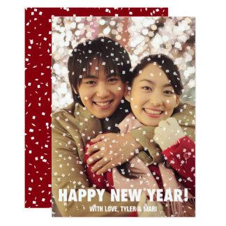 Cartão Vertical do feriado do feliz ano novo da folha de