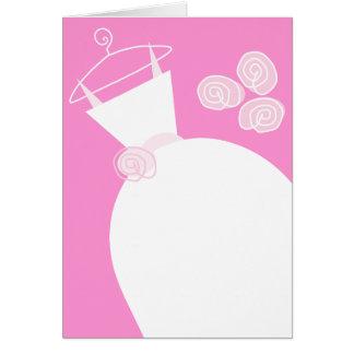 Cartão Vertical do rosa do vestido de casamento