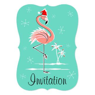 """Cartão Vertical do suporte do """"convite"""" do flamingo do"""