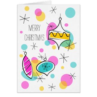 Cartão Vertical retro do texto do Natal dos Baubles da