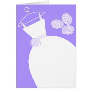 Cartão Vertical roxo do vestido de casamento