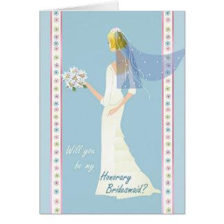 Cartão Vestido branco do pedido honorário da dama de