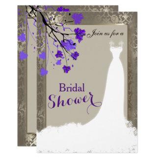 Cartão Vestido de casamento de prata floral & antigo roxo