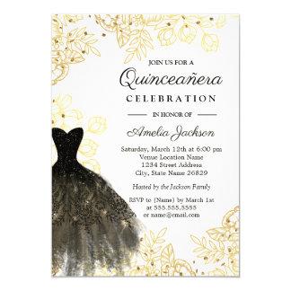 Cartão Vestido floral Quinceanera do vintage preto do
