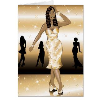 Cartão Vestido formal do ouro