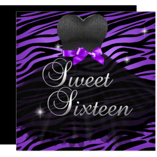 Cartão Vestido preto roxo da zebra do doce 16 do doce