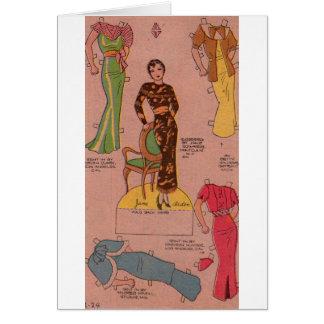 Cartão vestidos bonitos da boneca de papel dos anos 30