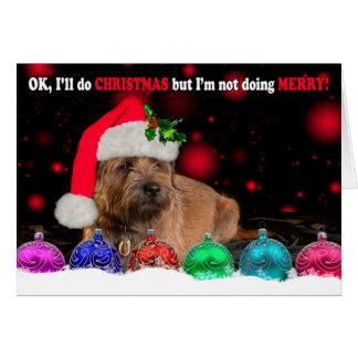 Cartão Vestir-se mal-humorado do cão de Terrier de beira