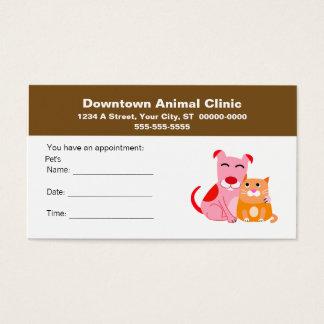 Cartão veterinário da nomeação