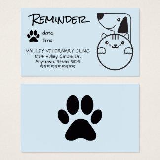 Cartão veterinário do lembrete da nomeação