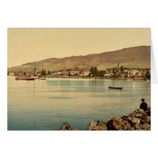 Cartão Vevey, o cais, lago geneva, clássico da suiça