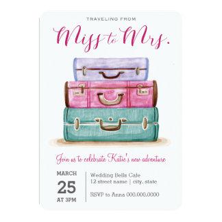 Cartão Viagem da senhorita ao chá de panela da Sra.