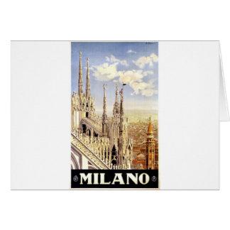 Cartão Viagem de Milão do vintage