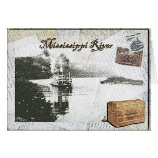 Cartão Viagem do barco a vapor no rio Mississípi