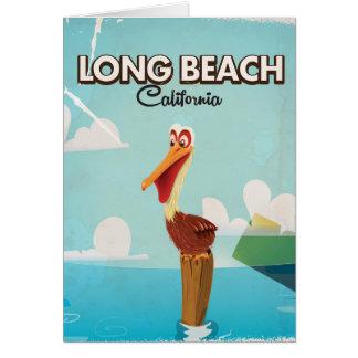 Cartão Viagem do pelicano do vintage de Long Beach