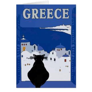 Cartão Viagem grego, gato preto
