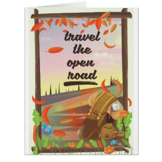 Cartão Viaja o vintage aberto da estrada que caminha o