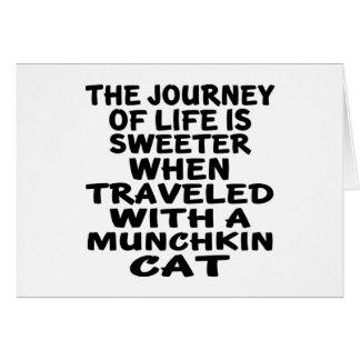 Cartão Viajado com gato de Munchkin