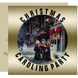Cartão Victorian do ouro do partido | de Caroling do