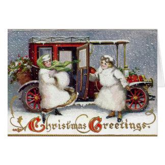 Cartão Victorian do vintage, Natal 1912 do C.