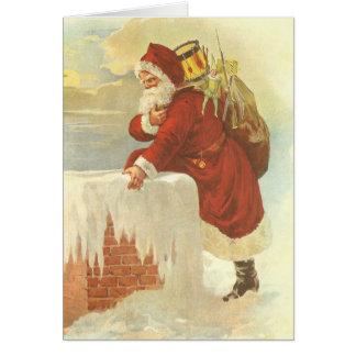 Cartão Victorian Papai Noel do natal vintage na chaminé