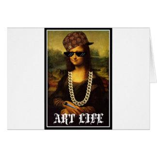 Cartão Vida da arte da vida do vândalo de Mona Lisa